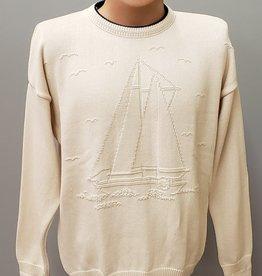 Binghamton Knitting Company Natural Sailboat Crewneck Sweater
