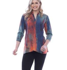 Parsley & Sage V-Neck Tunic, Blue Multi