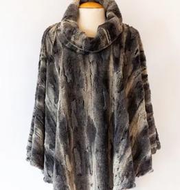 Black Aspen Faux Fur Poncho