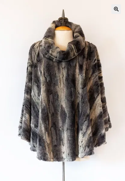Black Aspen Faux Fur Poncho