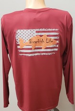 Brackish Life Maroon Performance L/S, Redfish/Flag