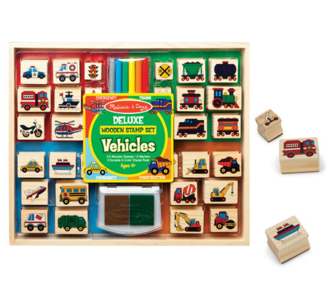 Melissa & Doug Deluxe Wooden Stamp Set - Vehicles