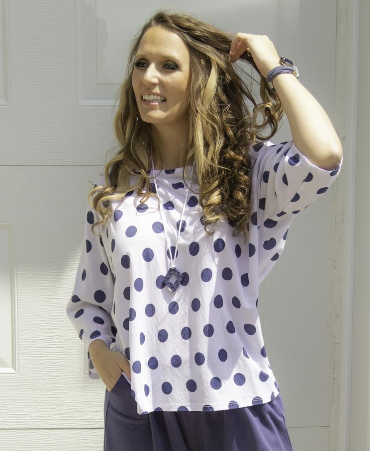 Pure Essence 3/4 Sleeve Top Indigo Dots