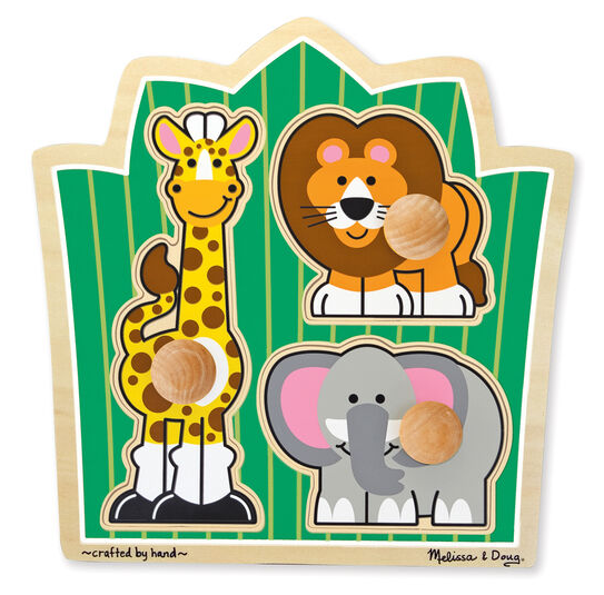 Melissa & Doug Puzzle, Jumbo Knob- Jungle Friends