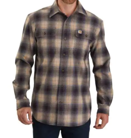 Carhartt Men's Original Fit Flannel Long Sleeve Plaid Shirt, Black