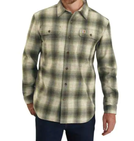 Carhartt Men's Original Fit Flannel Long Sleeve Plaid Shirt, Olive
