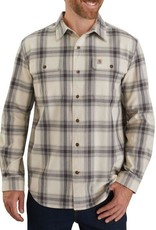 Carhartt 104451, M Org Fit Flannel LS Plaid Shirt, Oyster White