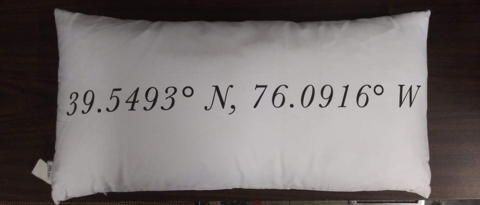PCB Home Personalized Coordinates Lumbar Pillow  White