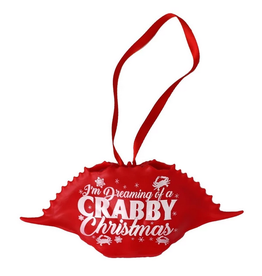 Dreaming Of A Crabby Christmas (Red) / Crab Shell Ornament