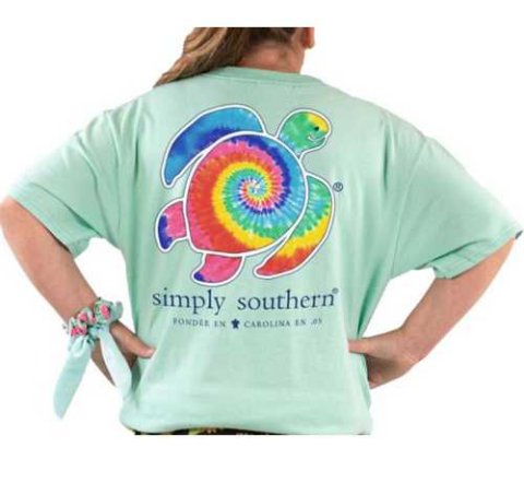 Simply Southern SS YOUTH Light Green Shirt  with Rainbow Turtle