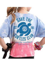 Simply Southern SS YOUTH Tye dye Blue and  Pink Turtle