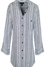 N TOUCH 3/4 Slv Print Stripe Shirt 3399