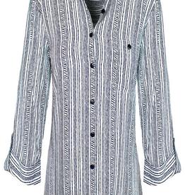 3/4 Slv Print Stripe Shirt 3399