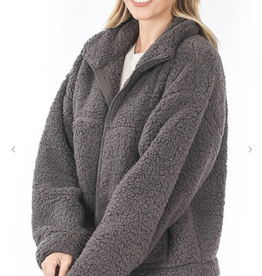 Melody Soft Sherpa Drawstring Zipper Jacket with Pockets