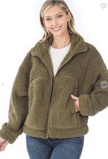 Melody Soft Sherpa Drawstring Zipper Jacket with Pockets
