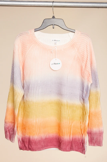 Bloom Wholesale Clothing Blush & Lavender Multi Stripe Sweater