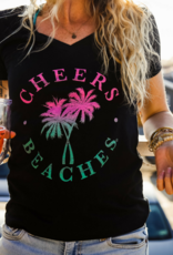 Cheers Beaches Cheers Beaches Distressed Palm Tree V-Neck