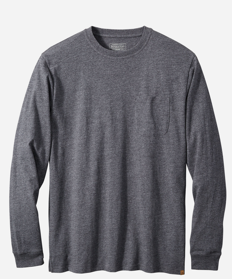 Pendleton L/S Deschutes Pocket Tee - Dark Grey Heather