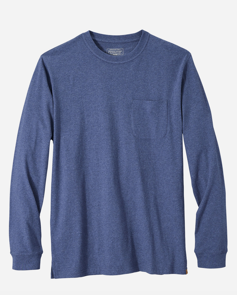 Pendleton L/S Deschutes Pocket Tee - Navy Heather