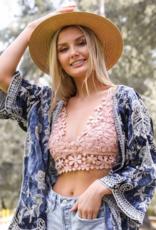Leto Accessories Crochet Daisy Longline Bralette