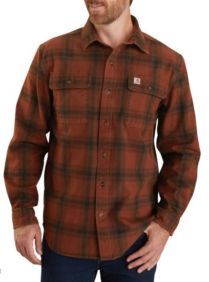 Carhartt LS OF Flannel Plaid Shirt, Mineral Red