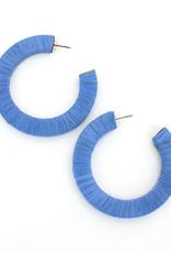 Blue Raffia Wrapped Hoop Earrings