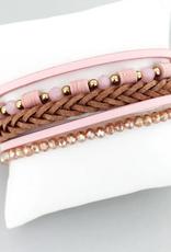 Pink Braided Multi-Strand Magnetic Bracelet