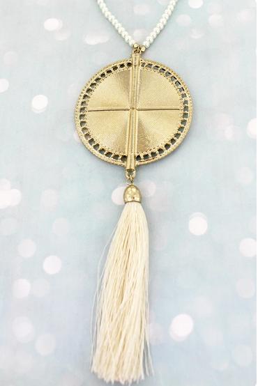 Ivory Pearl Beaded Medallion Tassel Pendant Necklace