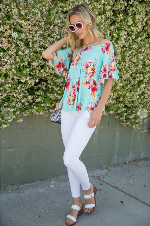 E Luna Floral Print Jersey off Shoulder Short Sleeve Top