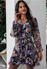 Melody Floral Print Long Sleeve Wrap Dress