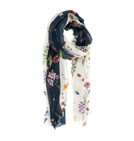 Joy Accessories by Joy Susan White Navy Scattered Bouquet Scarf