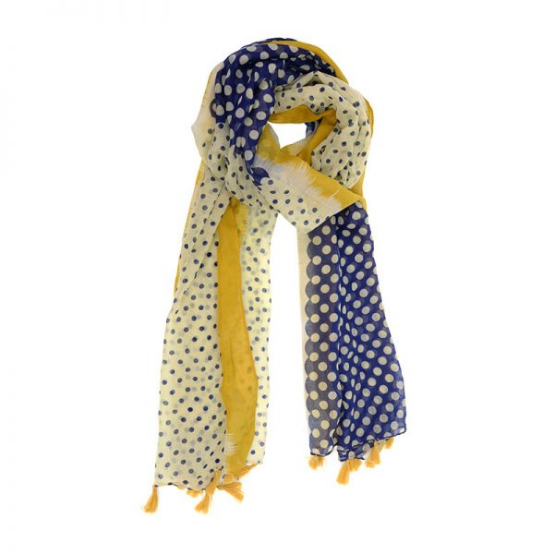 Joy Accessories by Joy Susan Color Block Polka Dot Tassel Scarf