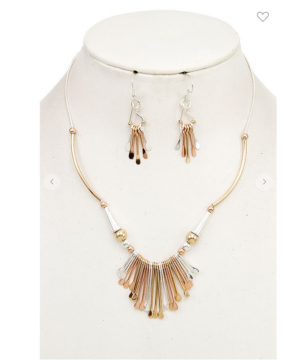 Andrea Bijoux FLAT FRINGE PENDANT NECKLACE SET