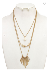 Andrea Bijoux LAYERED FRINGE BAR LEAF PENDANT NECKLACE SET