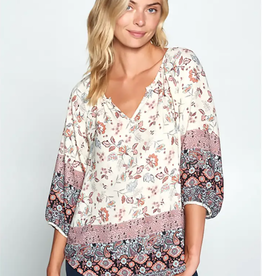 Paisley Border Print Notch V-Neck Top
