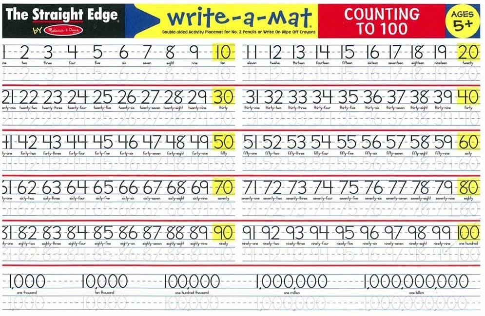 Melissa & Doug Counting to 100 Write a Mat