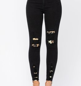 Judy Blue Black Destroyed Leopard Patch Skinny