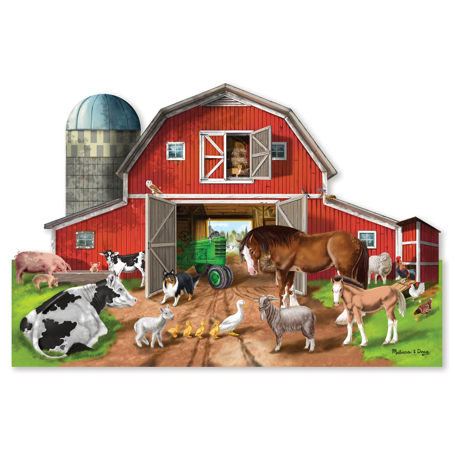 Melissa & Doug Floor Puzzle (32pc)-Busy Barn, Shaped