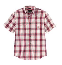 Carhartt Men's Loose Fit Mid-Weight Chambray Short Sleeve Plaid Shirt