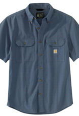 Carhartt 104625, Men's Loose Fit Mid-Weight Chambray Short Sleeve Plaid Shirt
