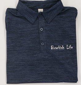Brackish Life Navy Textured S/S Polo