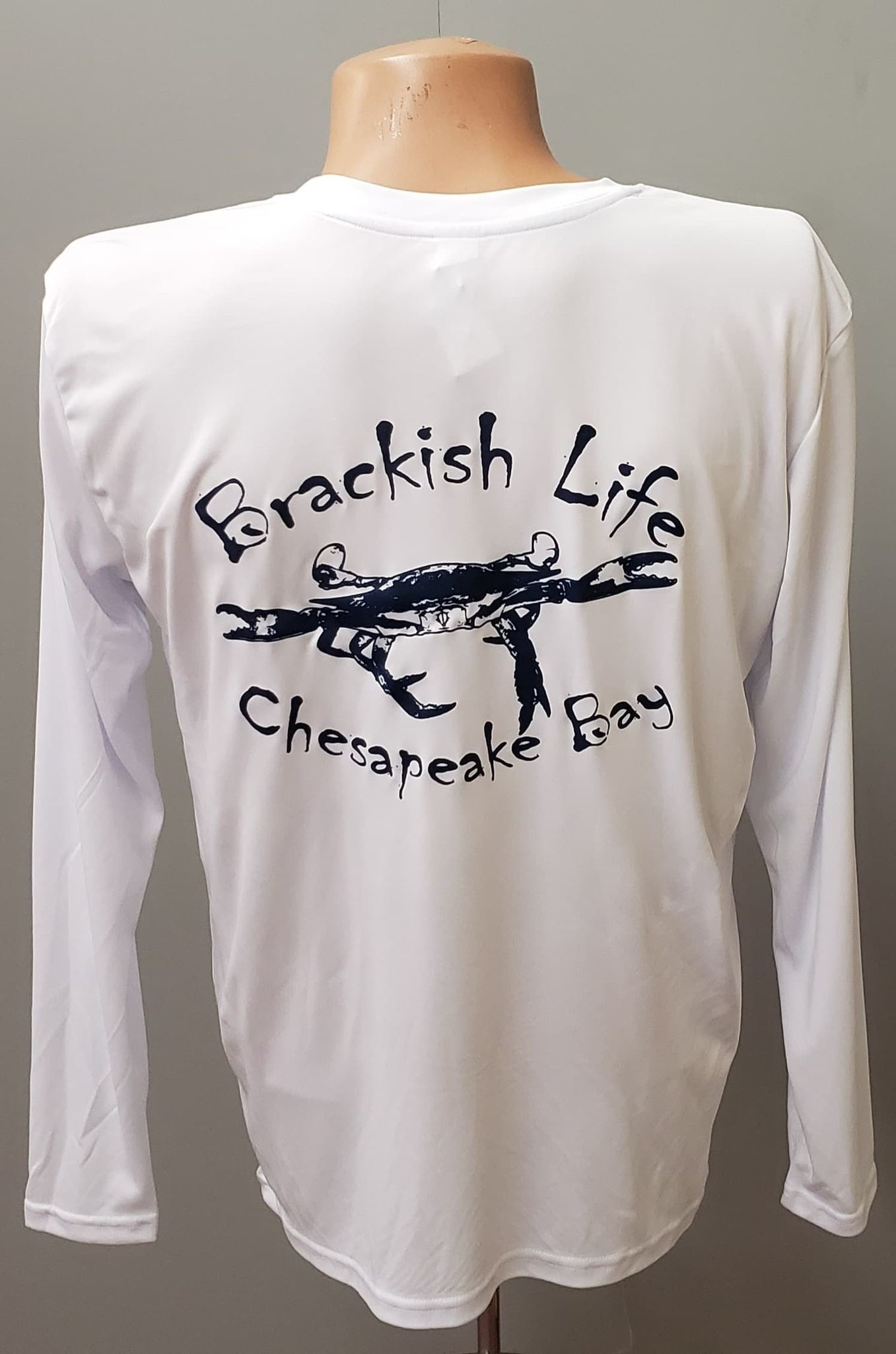 Brackish Life Performance UV L/S, White/USA Definition, Crab