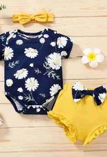 Riolio Baby Girl 3pcs Floral Print Romper & Headband & Shorts