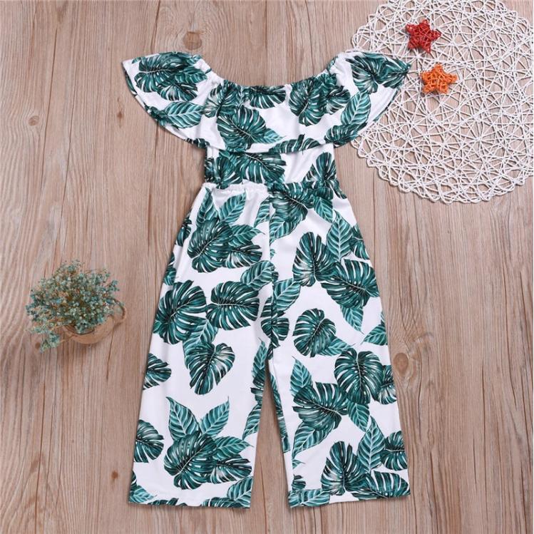 Riolio Palm Leaf Romper for Toddler Girl