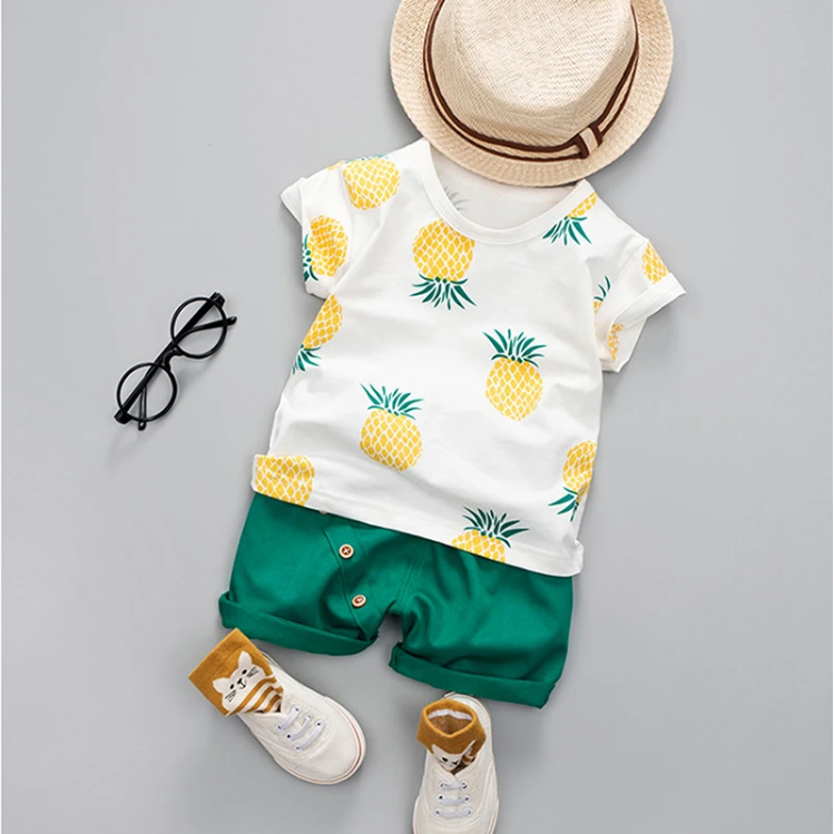 Riolio 2pc Pineapple Printed T-shirt & Solid Shorts