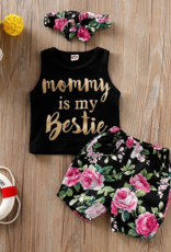 Riolio 3pc Mommy is my Bestie Tank Top, Floral Shorts with Headband