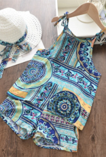 Riolio Girls 2pc Boho Print Cami Top & Shorts with Straw Hat