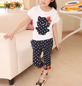 Riolio 2pcs Girl Hello Kitty T-shirt & Capri Pants