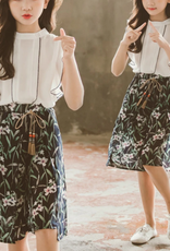 Riolio 2pc Ruffle Sleeveless Shirt & Floral Knee Length Pants
