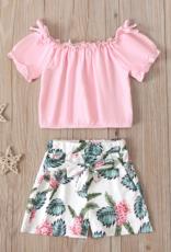 Riolio Toddler Girl 2pcs Top & Leaves Print Shorts